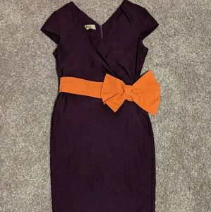 Capsleeve midi dress with bright bow